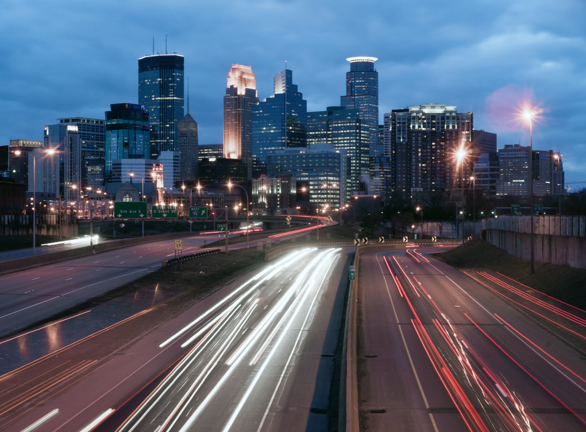Highway Carries Cars and Trucks into and out of Minneapolis